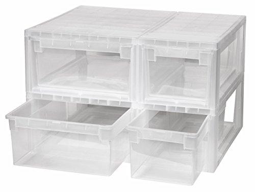 4 Stück Schubladenboxen mit Nutzvolumen 2 Stück mit 7 (S) und 2 Stück mit 12 (M) Liter. Passend für z.B. Socken, Krawatten, Shirts, Papier, Schreibwaren, etc. -