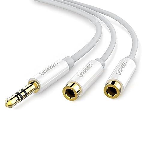 UGREEN Audio Câble Adaptateur Jack 3.5mm Mâle vers 2 Femelle Splitter Audio Dédoubleur pour Écouteur Casque PC Tablette Téléphone Lecteur MP3 Macbook iPad iPod Smartphone, 20cm, Blanc