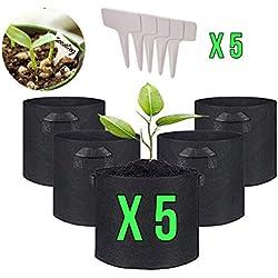 IN-OV Lot de 5 Pots pour Plante en Tissu Sac Plante en Tissu Pot Jardin Non tissé Sacs de Plantation jardinière en Tissu avec poignées 3, 5, 7, 10 gallons Plus 5 étiquettes Plante (7 gallons)