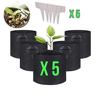 IN-OV Juego de 5 macetas de Tela con Asas: 3, 5, 7, 10 galones con 5 marcadores de Plantas