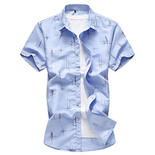 Jing camicia maglietta a maniche corte stampata grossa taglia uomo, primavera e estate, azzurro cielo, l