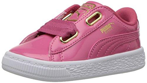 PUMA Girls  Basket Heart Patent Gold Kids Sneaker  Rapture Rose Team Gold  7 M US Toddler