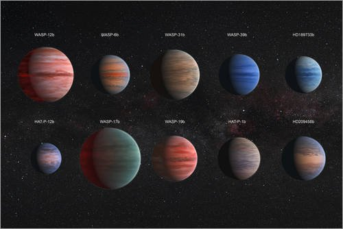 Posterlounge Forex-Platte 60 x 40 cm: Artist Concept of The 10 Hot Jupiter Wasp exoplanets with a Variety of Cloud Properties. von Stocktrek Images