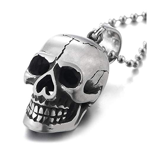 iMETACLII Unisexo Satinado Colgante de Vintage Grieta Cráneo,...