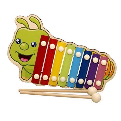FLAMEER 8 Töne Knock Xylophon mit Schlägel Holzspielzeug - Raupe