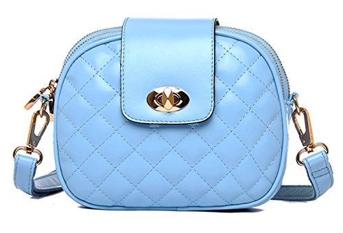 Greeniris Femmes/Filles Sac à bandoulière Faux cuir Crossbody Bag Messenger Sac à main Bleu clair