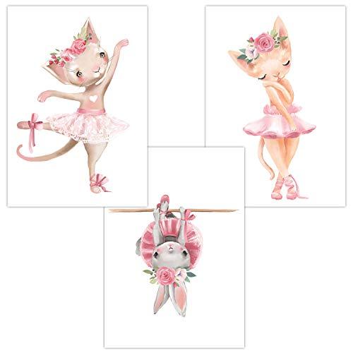 ür Baby & Kinderzimmer Deko Poster | Kunstdruck DIN A4 ohne Rahmen und Dekoration Tiere Mädchen (W06 Ballerina Cats/Katze Hase Blumen) ()