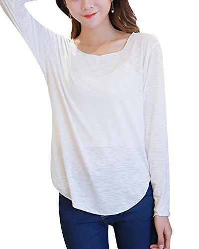 Femme Couleur Unie T-shirt à Manches Longues Col Rond Top Blanc