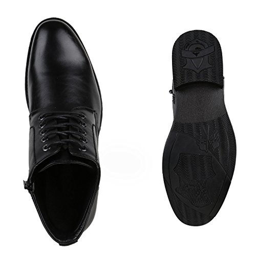Elegante Herren Schuhe Business Schnürer Schnürschuhe Boots Schwarz
