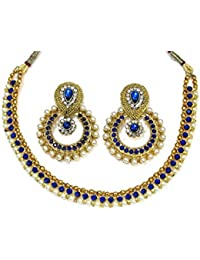 Shree Mauli Creation Blue Alloy Dark Blue Pearl Polki Necklace Set For Women SMCN960