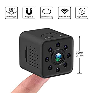 lentes espias profesionales: Mini cámara 1080P HD Videocámara espía Visión Nocturna Cámara CMOS 155 Grados So...