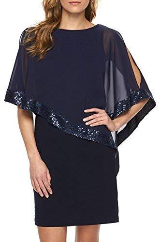 YMING Damen Figurbetontes Partykleid Sommerkleid Sexy Cocktailkleid Chiffon Kleid,Blau,S/DE 36-38