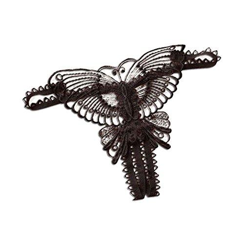 Plzlm Frauen G String geöffnete Gabelungs-Zapfen T Zurück aushöhlen Schmetterling Stickerei G-Strings