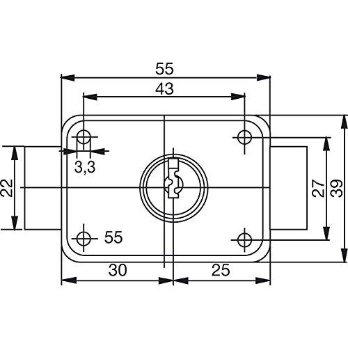 BURG WÄCHTER MZ 83 Zylinder-Kastenschloss verschiedensperrend, Zylinder Zink, MZ 83