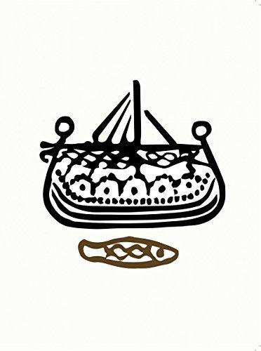 Wikinger Kunst Grußkarte Winkingerschiff auf Haithabu geprägten Münze 21x15cm (Wikinger-münze)