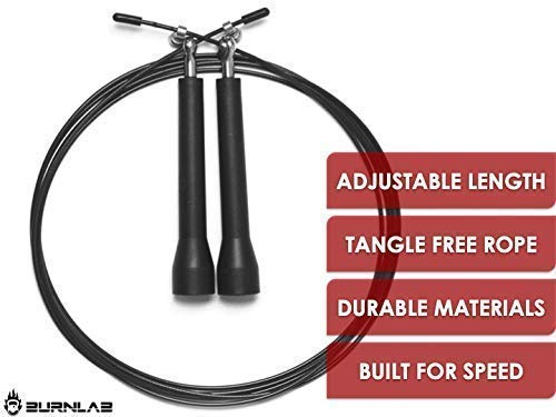 Burnlab Adjustable Skipping Rope Suitable for Gym, Crossfit, Double Unders, Speed Jumping, Cardio and Weight Loss - for Men and Women