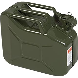 H&G 090-2010 Metal Fuel can Classic 10 L Olive Green, Powder Coated