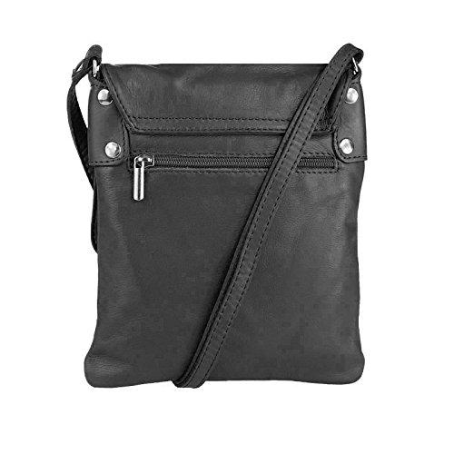OBC ital. Kleine Schultertasche Schmucktasche Hand Made in Italy CrossOver iPad Mini Tablet 7'' Leder Tasche Umhängetasche Vera Pelle Ovye 18x22 cm (BxH) Schwarz