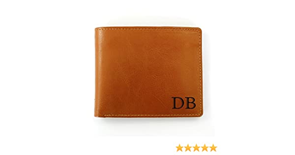 323c121aeef8 Personalised Initials Brown Leather Wallet  Amazon.co.uk  Luggage
