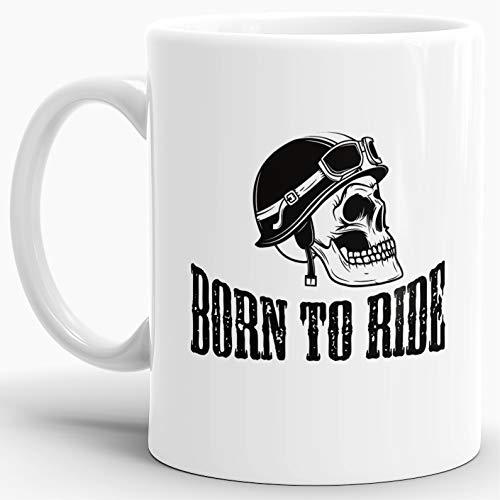 Skull-head Becher/Totenkopf-Tasse Weiss mit Aufdruck mit Helm und Schriftzug -born to ride-