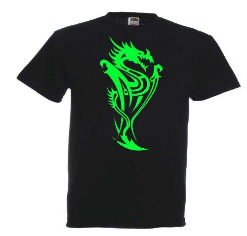 Drache Tribal T193 Unisex T-Shirt Textilfarbe: schwarz, Druckfarbe: neongrün