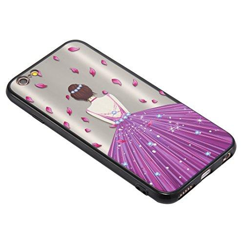 iPhone 6S Plus Spiegel Hülle, Rosa Schleife Weiche TPU Silikon Schutzhülle Handyhülle Backcover Glitzer Mirror Cases mit Schmetterling schönes Mädchen Muster Design für iPhone 6S Plus / 6 Plus Blaues  Lila Petals Mädchen