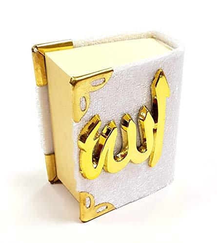 MINI Kücük KURAN I KERIM KORAN (weiß - gold, Maße 2,5x4,5x5,5cm)/ mit Samt- Bezug - Cover/Relief-Schriftzug/Allah Islam Nazar Cevsen Kuran Qoran Quran