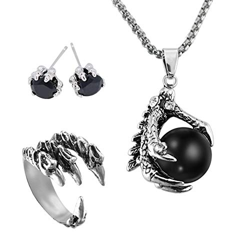 EQLEF Drachenklaue, Gothic Dragon Claw Halskette Legierung / Dragon Stud Ohrringe / Mens Dragon Ring Geschenk für Punk Lovers (3 Stück) Man Stud