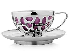 Magppie Aura Cups and Saucers Set, 8 piece, Emerald Pink