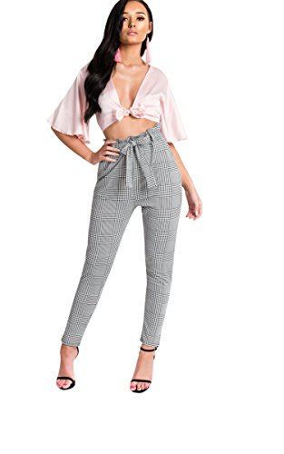Ikrush Womens Alba Paperbag Check Trousers