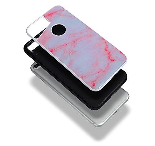 Custodia iPhone 7 Plus, ISAKEN Cover per Apple iPhone 7 Plus [TPU Shock-Absorption] - Marmo Modello Naturale Custodia Soft TPU Sottile Custodia Case Morbido Protettiva Bumper Caso, Rosa nero Pink