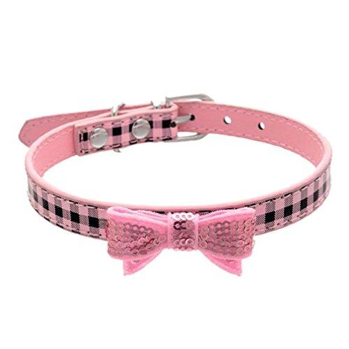 Hundehalsband, Hmeng Haustier Hunde Halskette Niedlich Verstellbare Hund Katze Kragen Bowknot Dekoration PU Leather Halsband Welpen Haustier Klassische Halsbänder (S, Rosa)