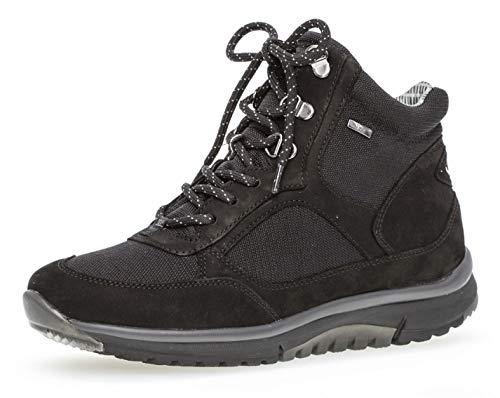 Gabor Damen Schnürstiefelette 96.935,Frauen Stiefel,Boots,Halbstiefel,Schnürboots,Bootie,flach,Blockabsatz 1.5cm,Einlegesohle,0 Weite (Normal),schwarz (Mel.),UK 6.5