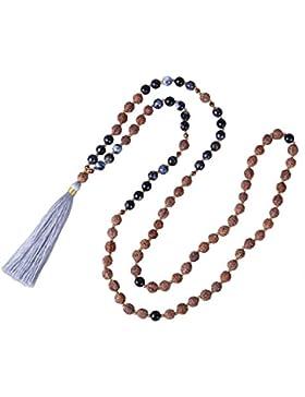 KELITCH Hinduismus Mala Rudraksha Achat Meditation Gebet Kette mit Quaste Anhänger