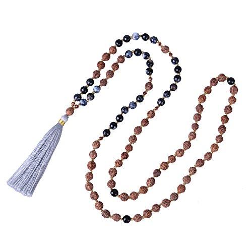 KELITCH Hinduismus Mala Rudraksha Achat Meditation Gebet Kette mit Grau Quaste Anhänger