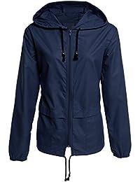 33c5d96dd8f99e ZEARO Damen Mantel Regenjacke leichte Regenmantel Raincoat mit Kapuze  Winddicht Wasserdicht Wetterschutzjacke Jacket…