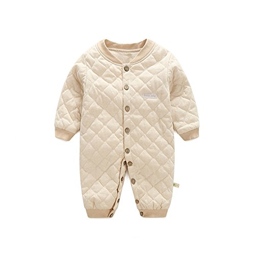, Chickwin Unisex 100 % Reine Baumwolle Warme Herbst und Winter Säuglinge Mädchen Jungen Jumpsuit Baby Schlafanzug (90 cm (18-24 Monate), Khaki) (18 24 Monat Mickey-mouse-kostüm)