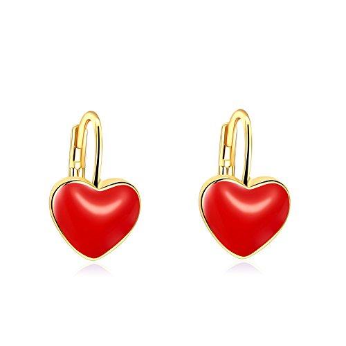 Rot Herz Baumeln Ohrring Party Wear 18ct Gold vergoldet Geschenk für Damen Mädchen Teen