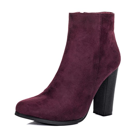 SPYLOVEBUY THORA Femmes à Talon Bloc Bottines Chaussures Rouge - Simili Daim