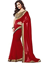 SRP Fashion Selection Women's Chiffon Saree (Srp-Of109_Red)