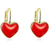 Pendientes de corazón rojo chapados en oro de 18 quilates regalo de cumpleaños para mujeres y niñas