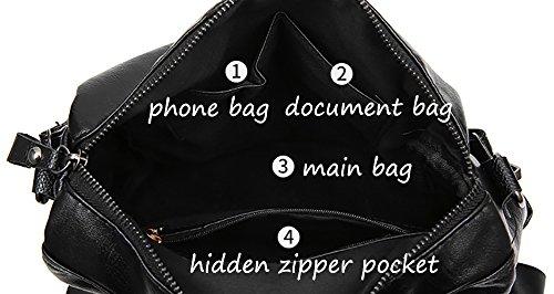 CLOTHES- Sacchetto di spalla delle signore zaino nero PU dell'unità di elaborazione di capacità selvaggia di personalità di modo coreano ( Colore : Rosso ) Nero