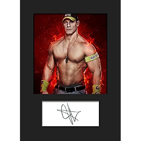 John Cena Stampa con foto formato A5, con cornice e autografo di John Cena WWE