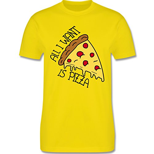 Statement Shirts - All I want is pizza - Herren Premium T-Shirt Lemon Gelb