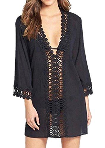 Walant Damen Strandkleid Kleidung Strand Hemdkleid V-Ausschnitt Rock Cover Ups Size L (Schwarz) (Cover Pareo Strand)