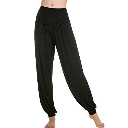 Femme Pantalons de Sport Yoga Souple 95% Modal Danse type Bloomer pants Noir Fabricant taille L-EU taille M