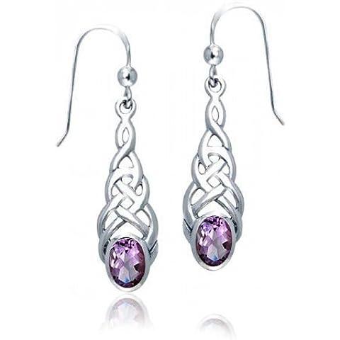 Bling Jewelry Knotwork celtico originali orecchini ovale Amethyst Sterling ciondola - Knotwork Ciondola