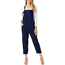 YOINS Femmes Combinaison Jumpsuit sans Manches à Bretelles Salopette Rétro Pantalon Playsuits avec Poches Bleu Foncé-1 XL