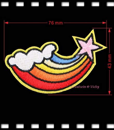 Desconocido Parche Bordado de Estrella para Planchar o Coser en el arcoíris, para Prendas de 7643 mm