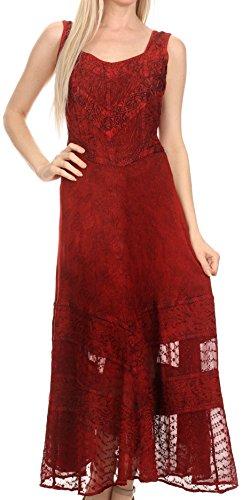 Sakkas 15225 - Zendaya Stonewashed Rayon Embroiderot Floral Vine Ärmelless V-Neck Kleid- rot - S/M -